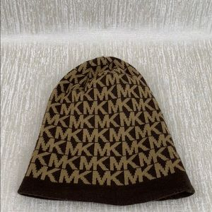 MICHAEL KORS BROWN MONOGRAM HAT ONE SIZE FITS MOST
